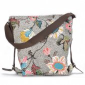 ceannis väska shoulder bag grey flower linen