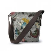 Ceannis - Väska Small Shoulder Bag Flower Linen Grey