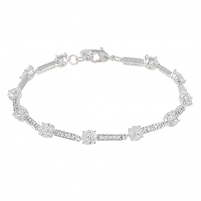 SNÖ OF SWEDEN ARMBAND ELAINE CLEAR SILVER
