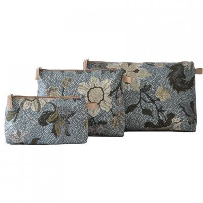 Ceannis - Väska Cosmetic Flower Linen New Dusty Blue