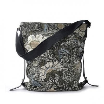 Ceannis - Väska Shoulder Bag Flower Linen Black