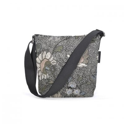 Ceannis - Väska Small Shoulder Bag Flower Linen Black
